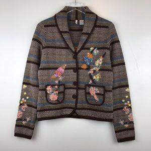 Anthropologie Moth Embroidered Sweater Blazer Med